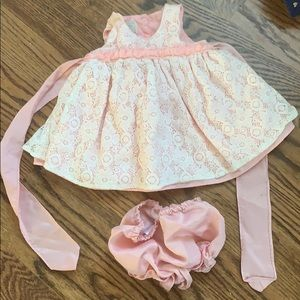 Pink lace dress with diaper cover